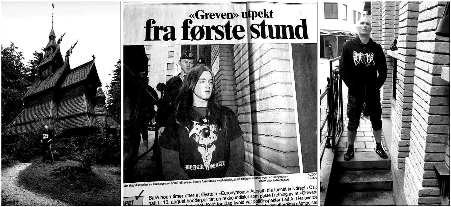 Hollandske Tim Simonis i Burzums fotspor. Først ved nye Fantoft stavkirke, så for å gjenskape det legendariske pressebildet av Varg Vikernes (Foto: Tim Simonis privat og Faksimile fra Bergens Tidende 21.08.1993).